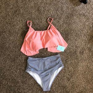Flounce bikini top with high waisted bottoms NWT